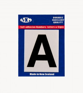 MG2LN Letter A Black on Silver (50MM)