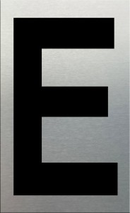 MG2LN Letter E Black on Silver (50MM)