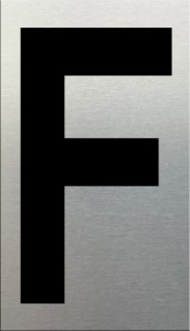 MG2LN Letter F Black on Silver (50MM)